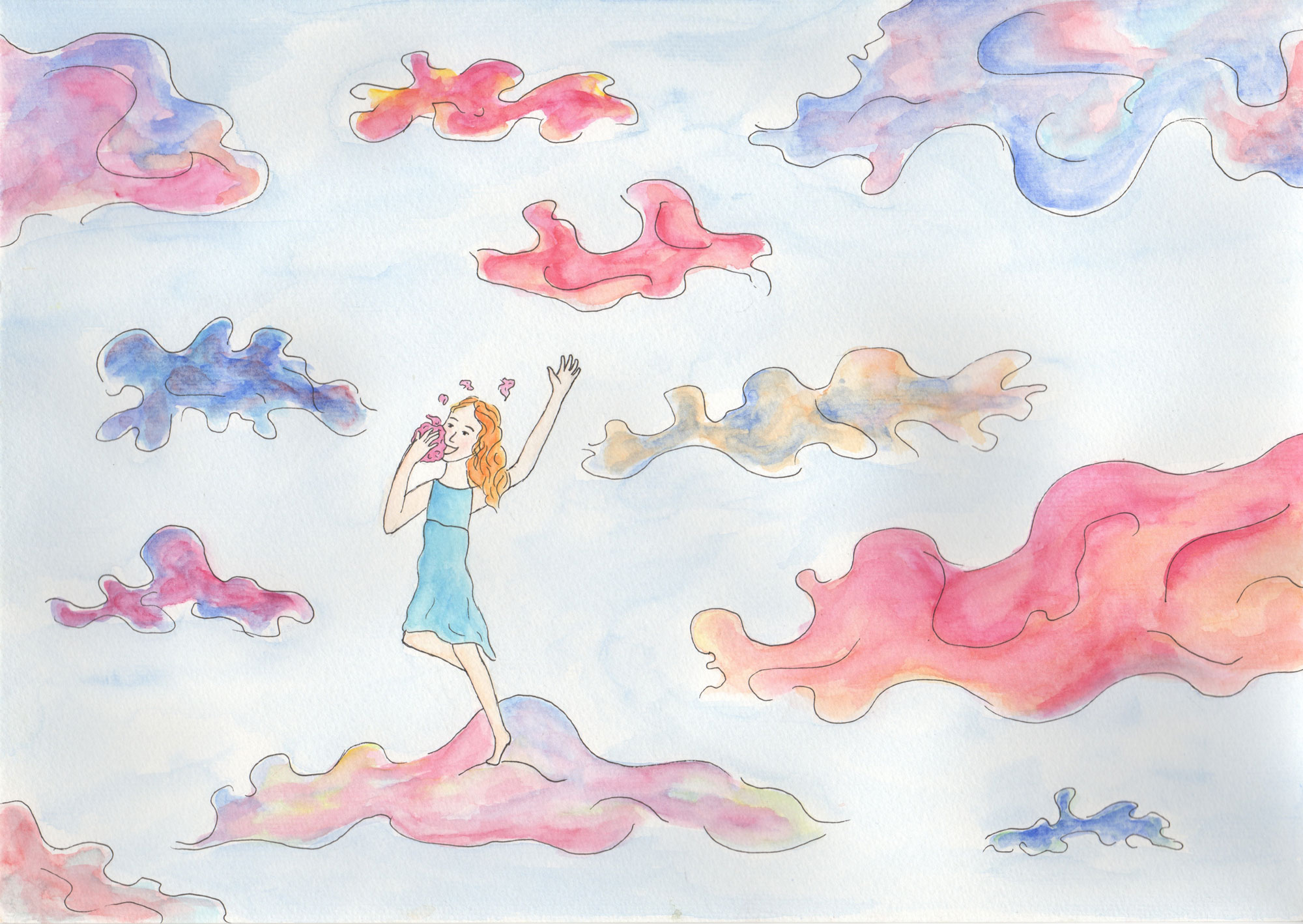 I wish I could dance on top of the clouds while eating fairy floss.