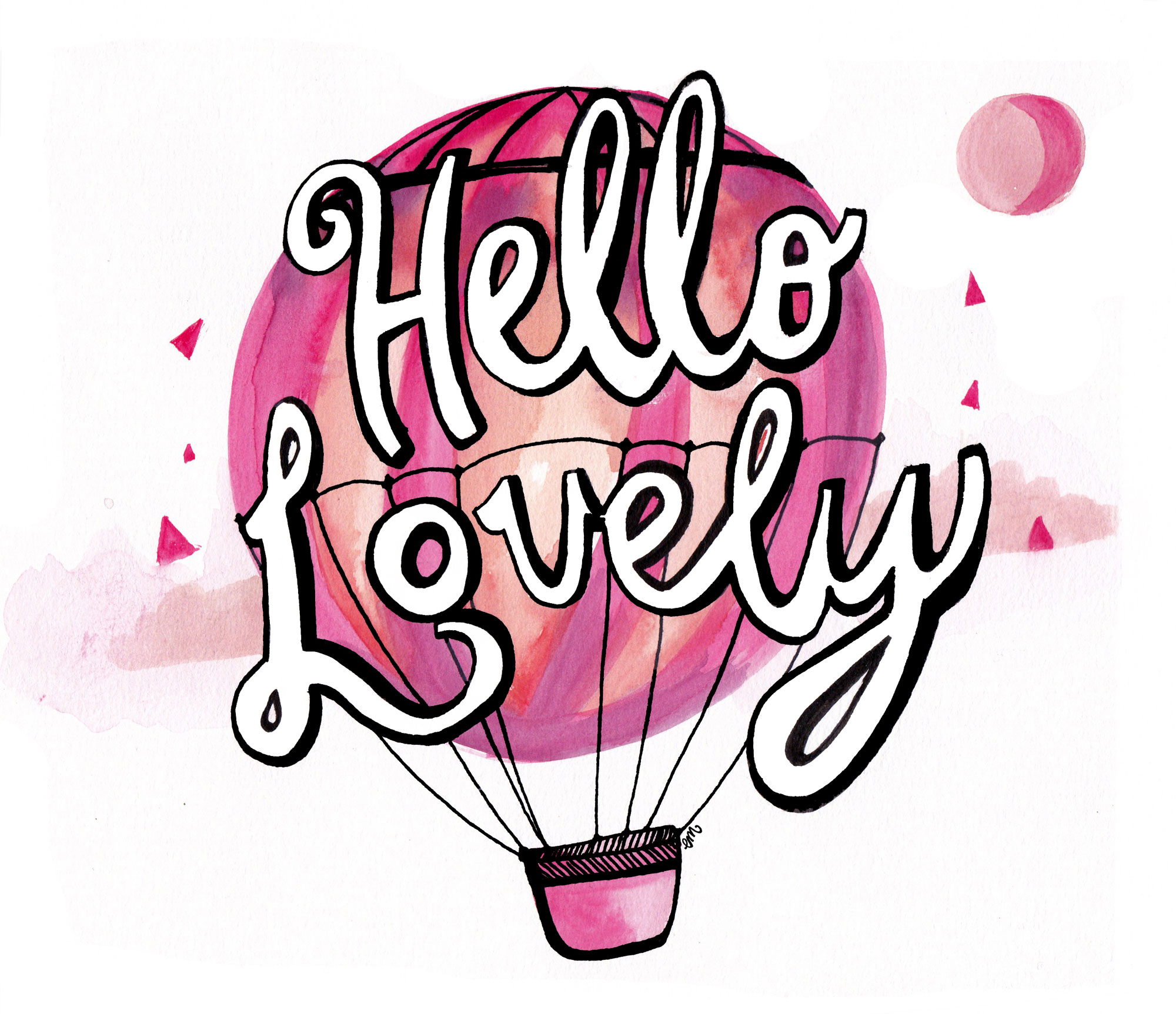 Hello Lovely air balloon positive message. Emily McCubben