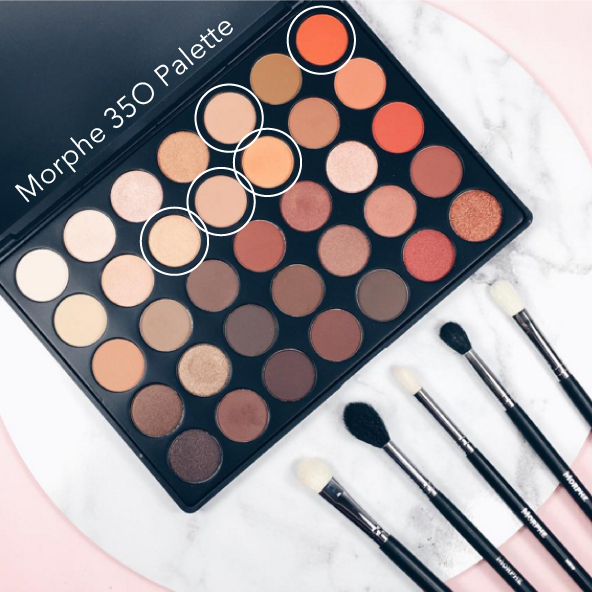 Morphe Brushes 35O Palette - Circled shadows were used to create this look.