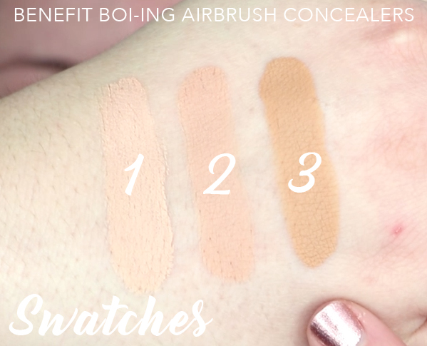 Benefit Cosmetics Boi-ing Airbrush Concealer Swatches