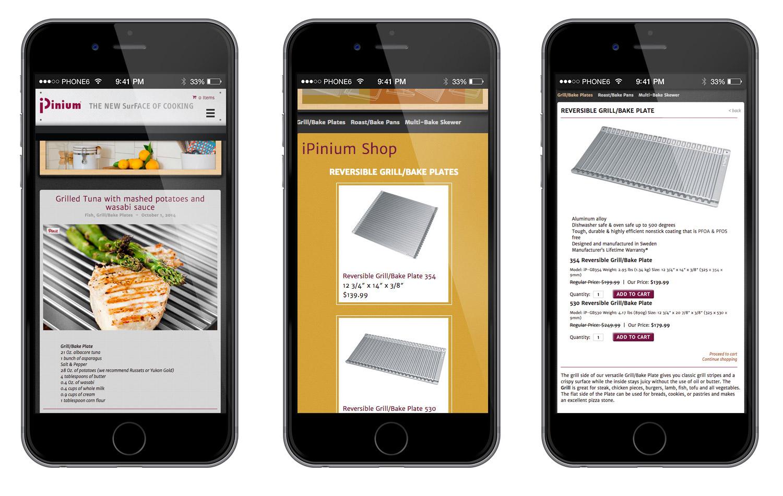 web design, mobile-friendly, online shopping, eCommerce, Wordpress, kitchenware, iPinium shop, consumer goods website, responsive