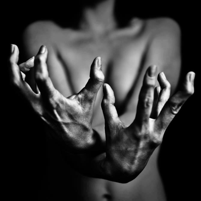 b&w intense hands
