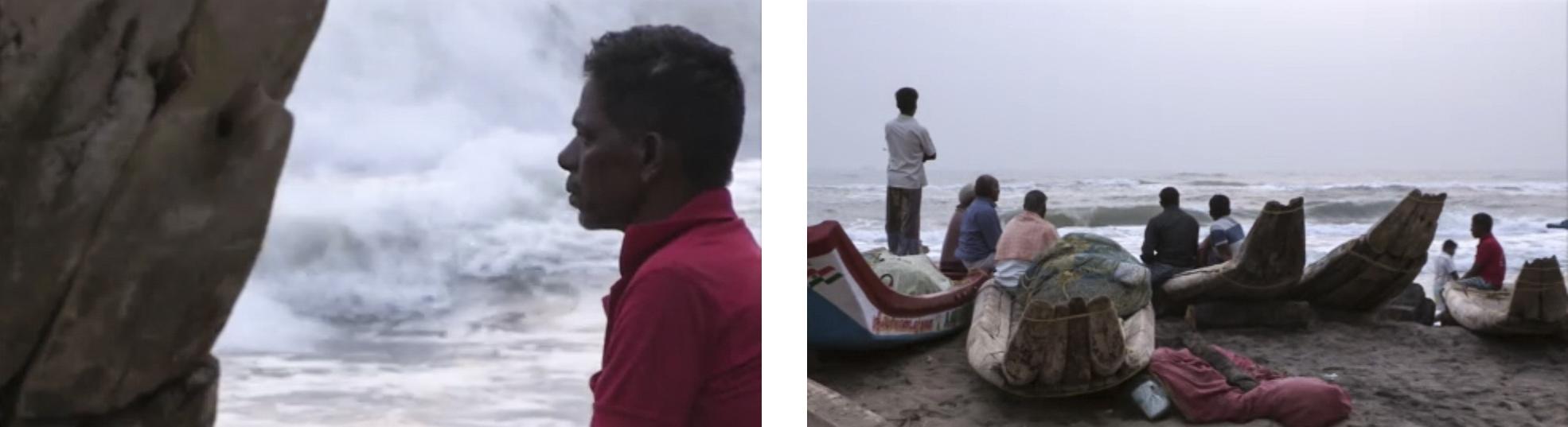 """Fishermen along the coast at Marina Beach, from EBS Korean TV's documentary  """"Water Retaliates: The Story of India""""  (2014)"""