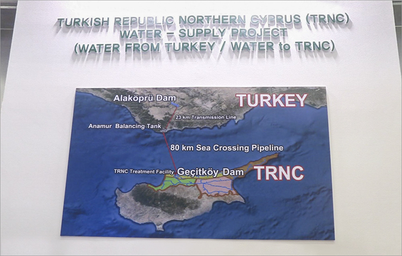 Presentation wall of the 'Water Pipeline Project' at the Turkish Pavilion during the 7th World Water Forum, Daegu, South Korea from 12-17 April 2015   *