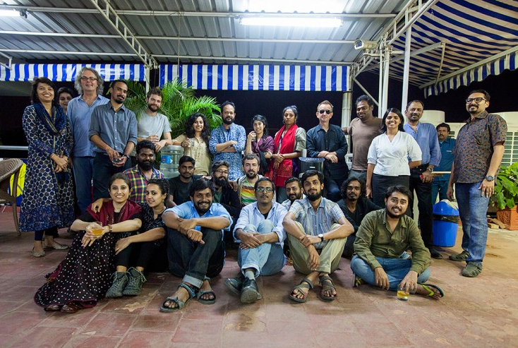 An evening on the roof of the Goethe-Institut in Chennai on 13 January 2016 with the Urban Water Workshop organizers, participants and other water activists & artists, arranged to preview and discuss the regional water issues raised by the photographers' workshop projects.