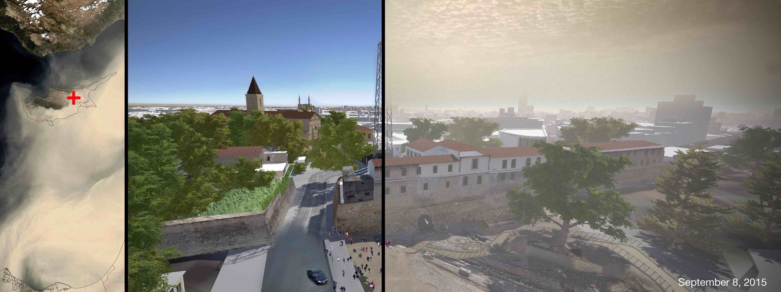 Visualization within the historical city center of the extreme dust event that took place on September 8, 2015 as seen in virtual reality using the Nicosia simulation model of The Cyprus Institute.