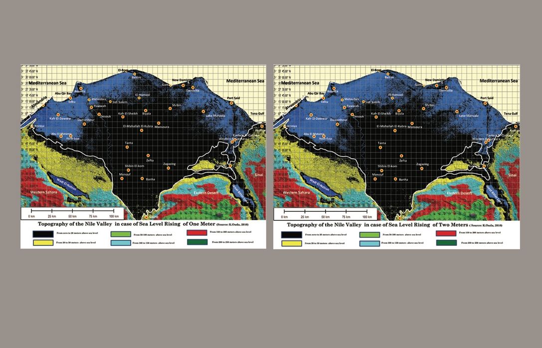 The Nile Valley and topographical changes due to possible future sea level rise scenarios