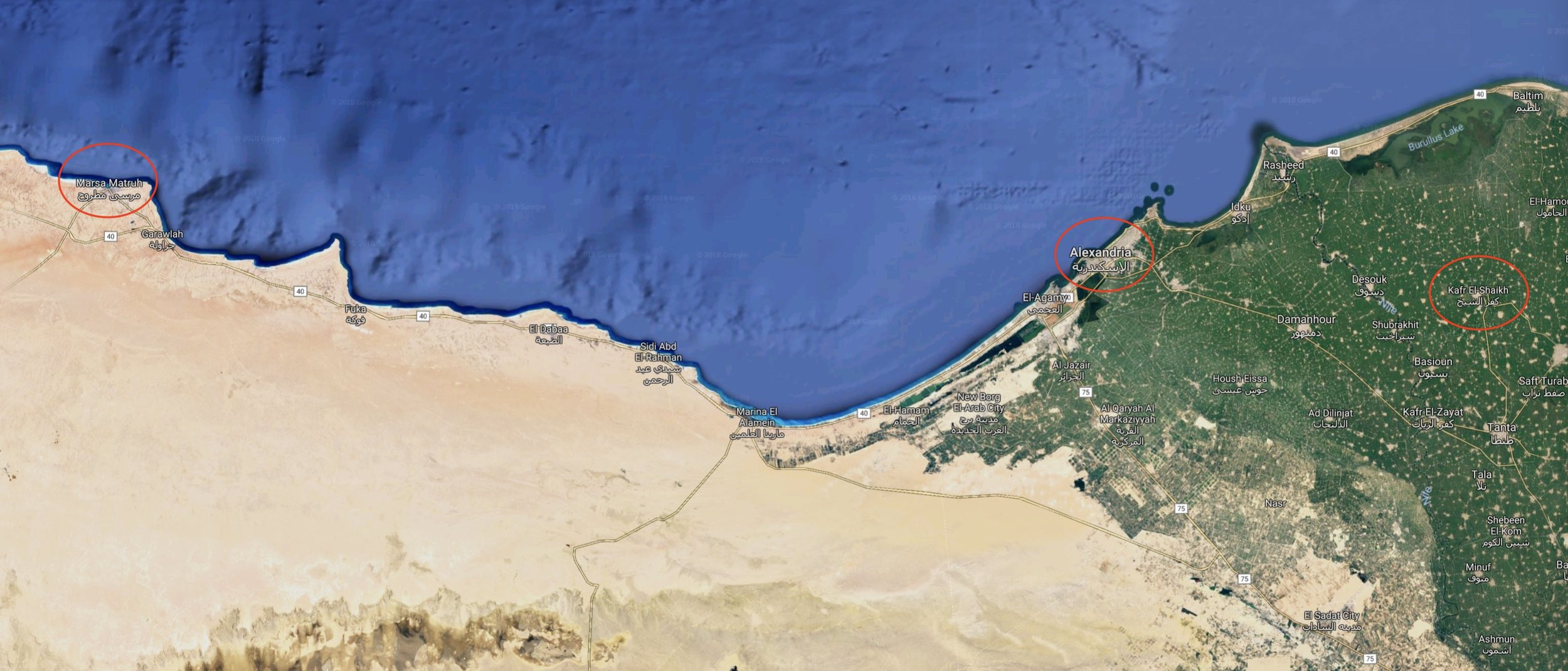 Map of North Coast, indicating the locations of  Marsa Matrouh  to the West, the coastal city of  Alexandria , and the governorate and city of  Kafr El Sheik  in the Nile Delta | Click to enlarge.