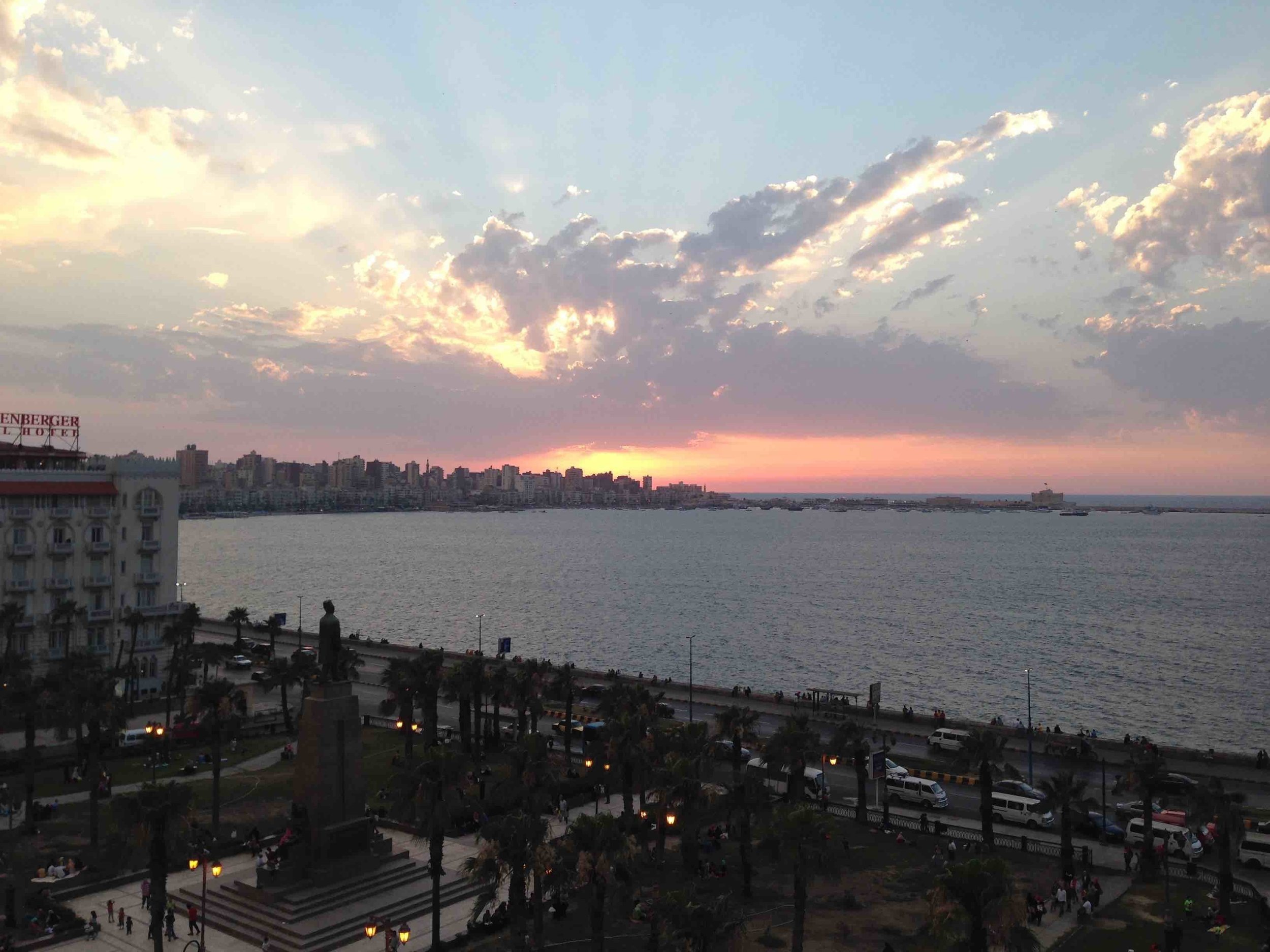 Dusk in the city of Alexandria