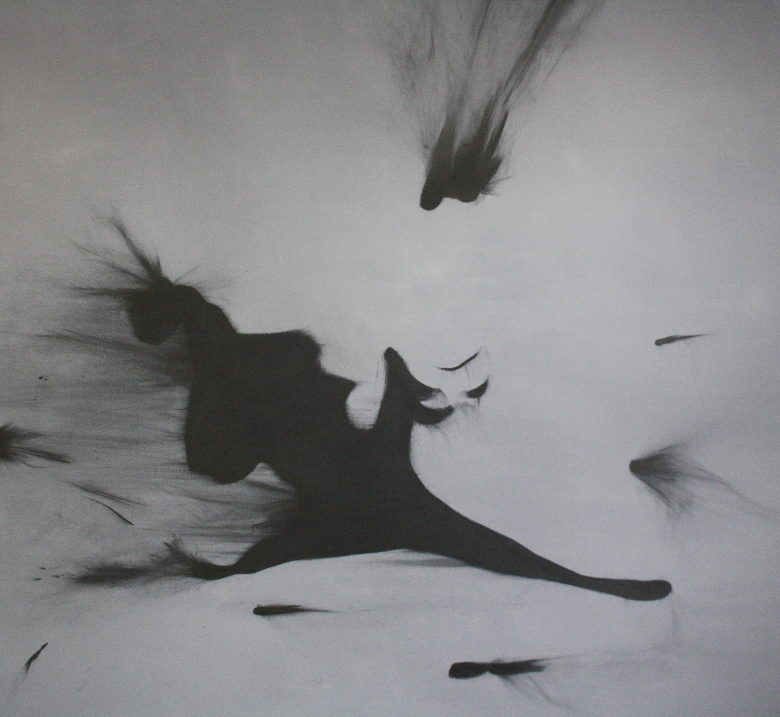 Petr Nikl, Půltvář, 2013, 200 x 95,5 cm, olej na pl., grafit