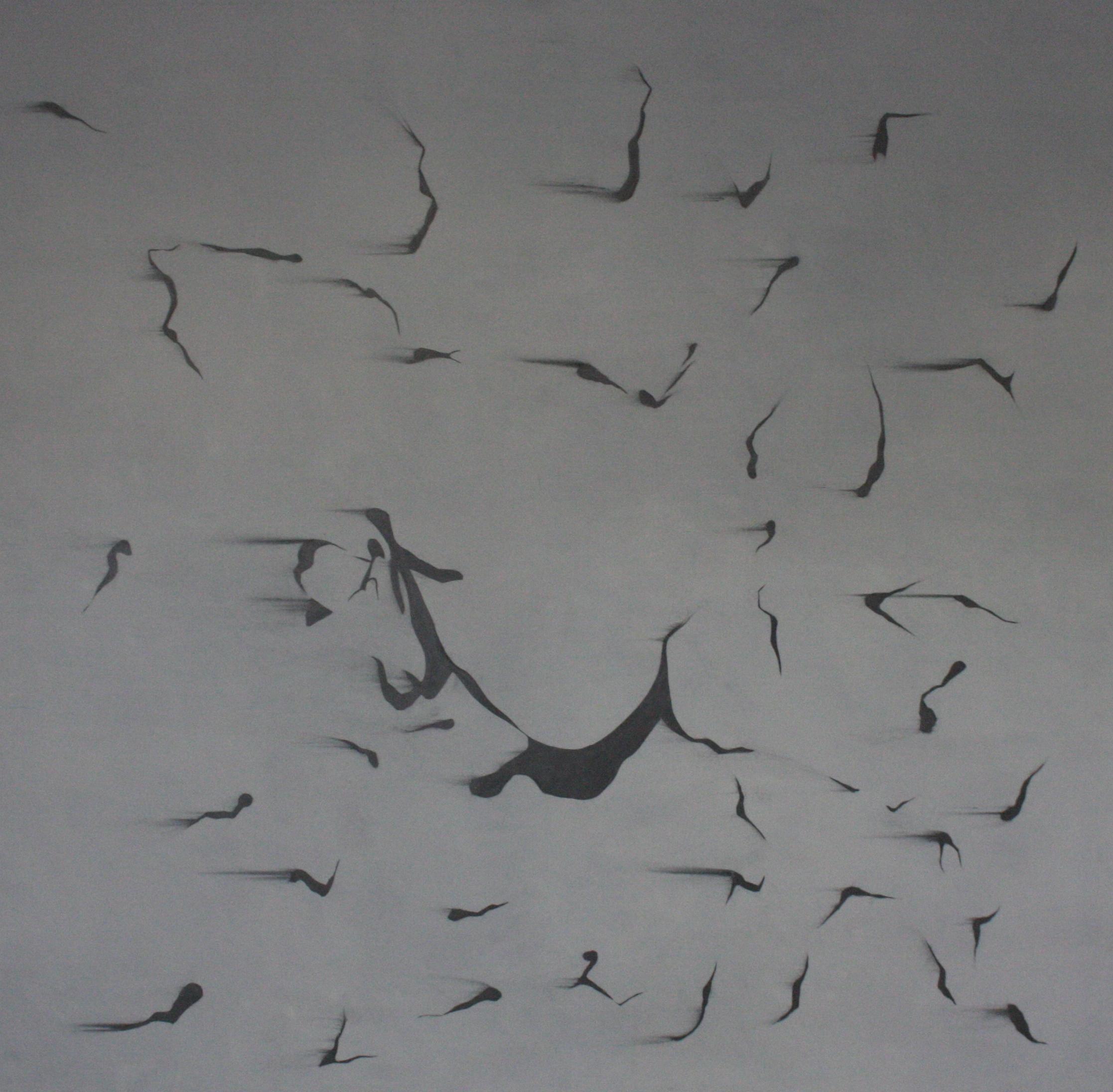 Petr Nikl, Smítky tváře, 2013, 196 x 200 cm, olej na pl., grafit