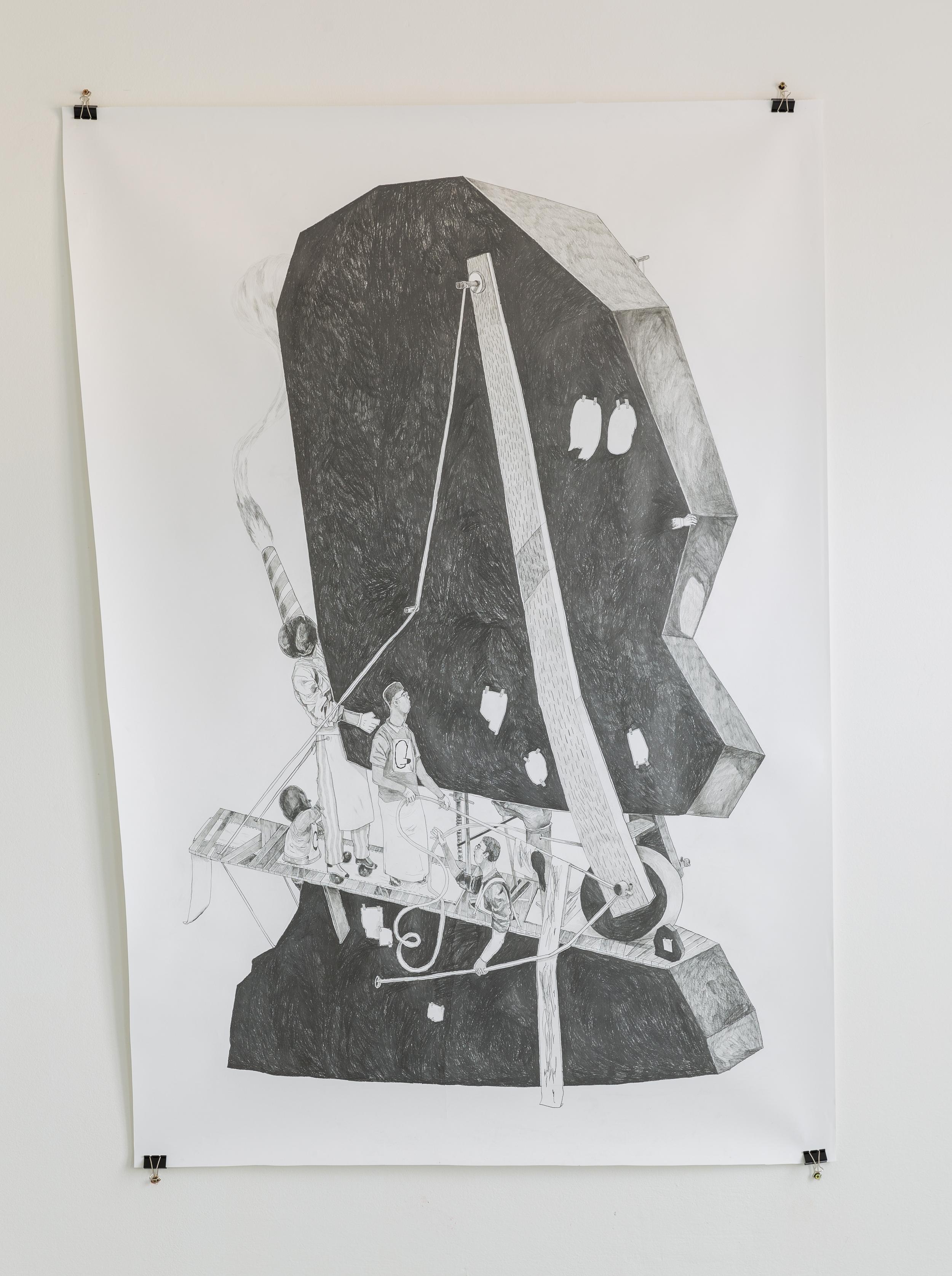 David Böhm - Jiří Franta, Kdykoli, když ne teď, 2015, tužka na papíře, 194 x 136 cm