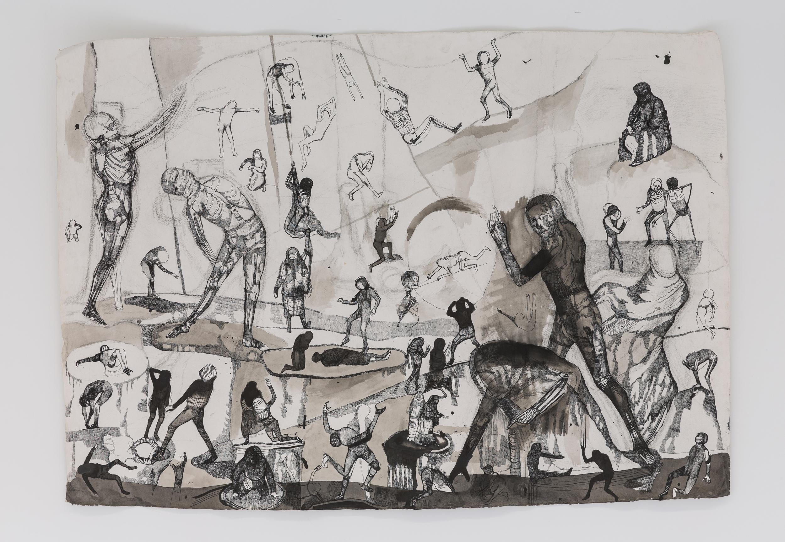 Josef Zlámal, bez názvu, 2012, tuš na ručním papíře, 140 x 100 cm
