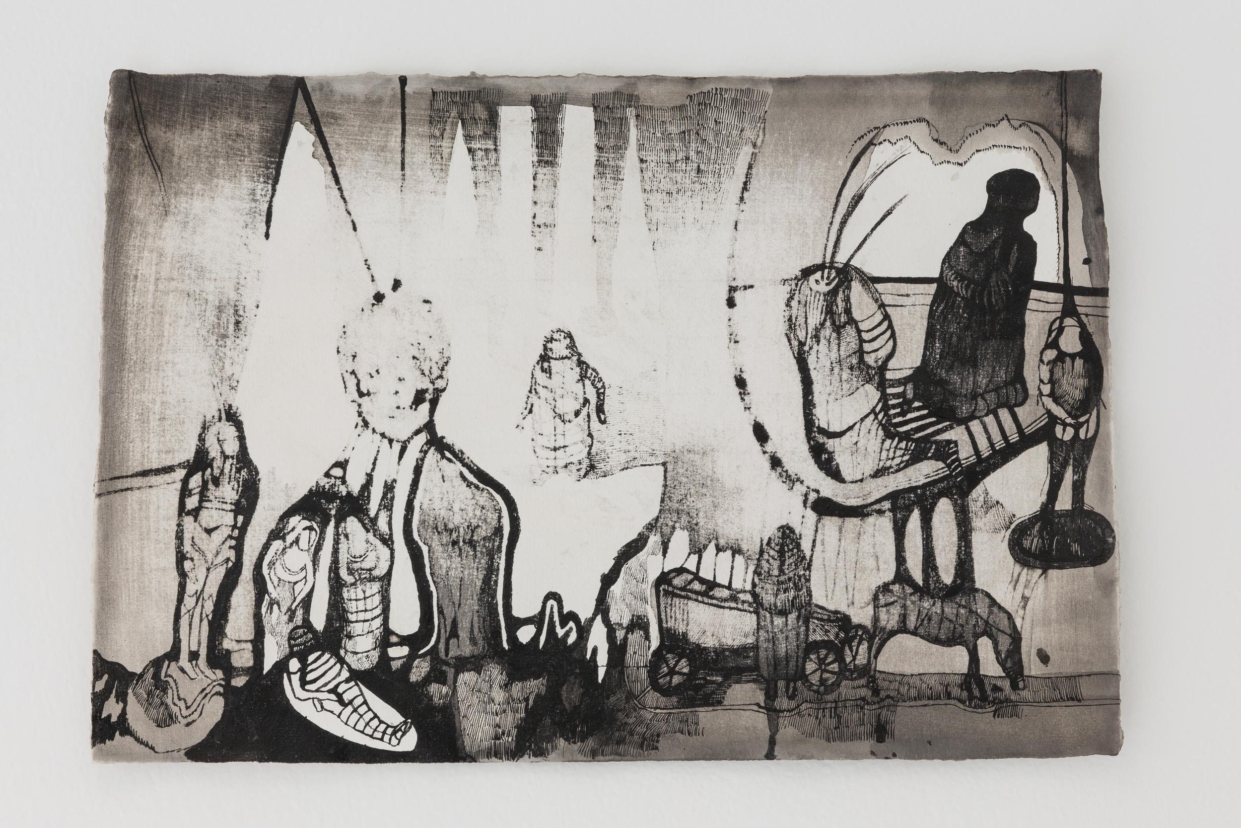 Josef Zlámal, bez názvu, 2015, tuš na ručním papíře, 23 x 42 cm