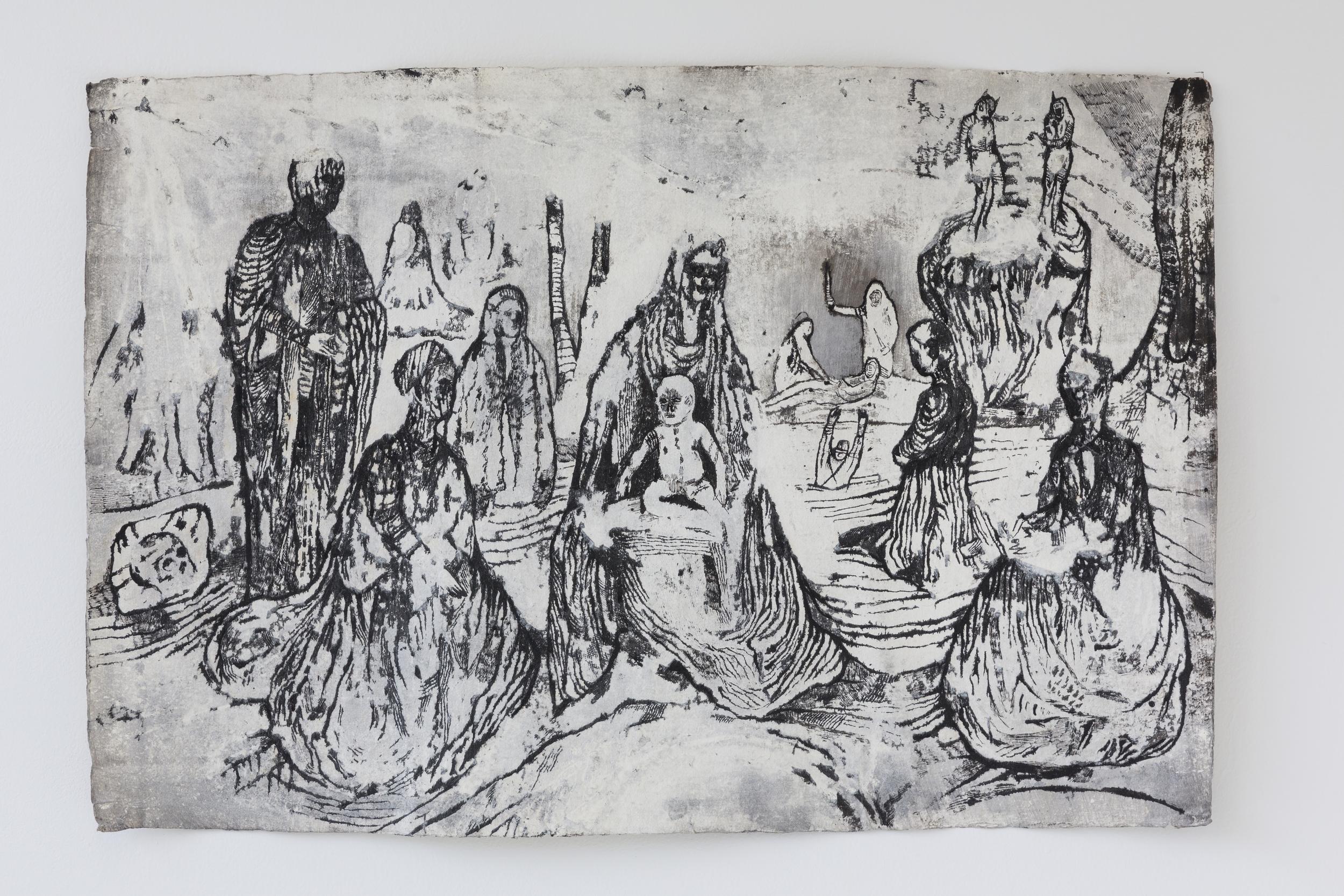 Josef Zlámal, bez názvu, 2009, tuš na ručním papíře, 100 x 70 cm
