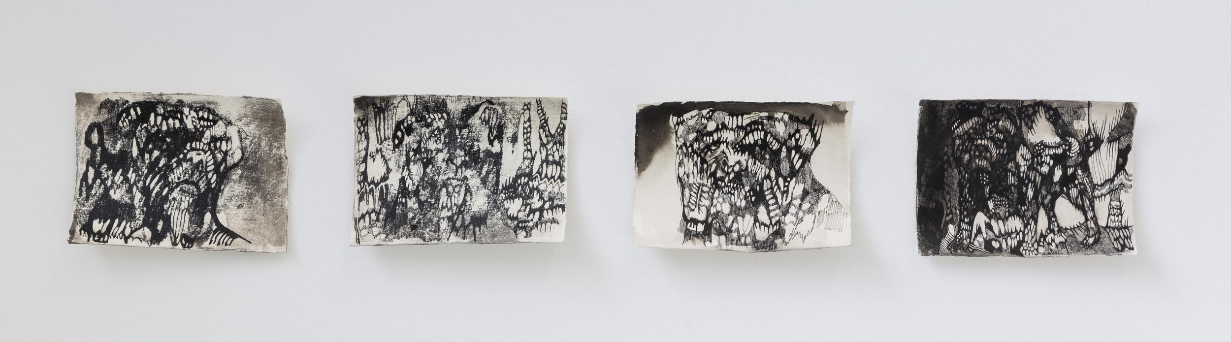 Josef Zlámal, bez názvu, 2015, tuš na ručním papíře, 15 x 19 cm, 4x