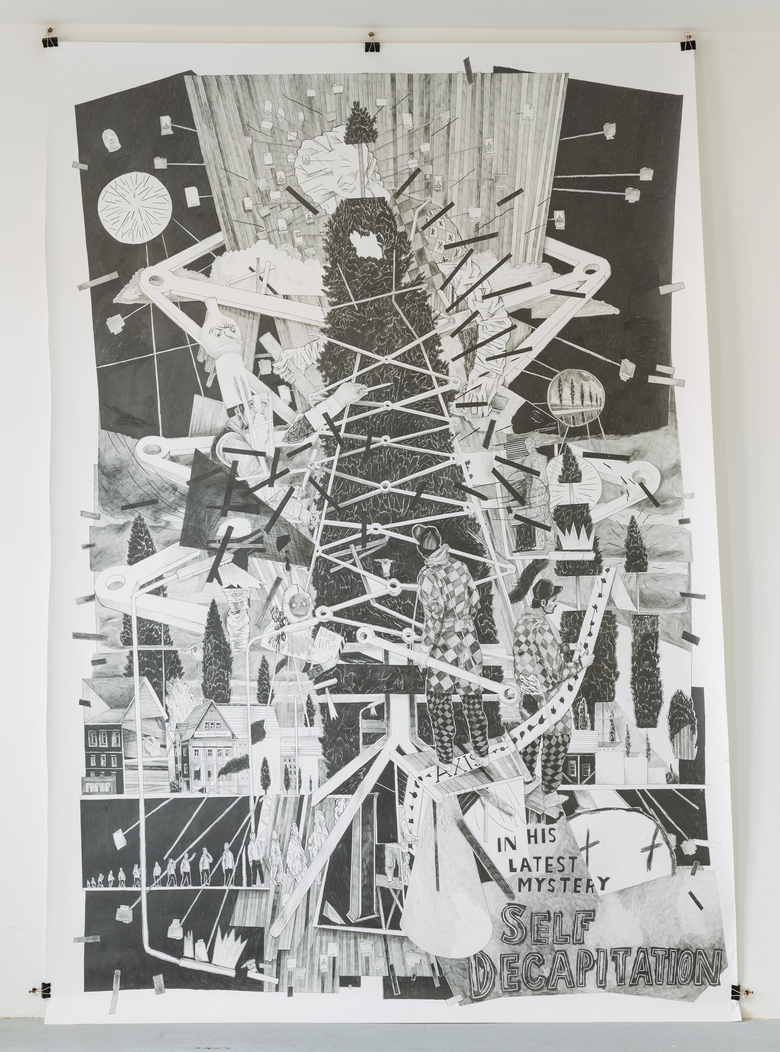 David Böhm - Jiří Franta, Samostětí, 2015, tužka na papíře, 272 x 182 cm