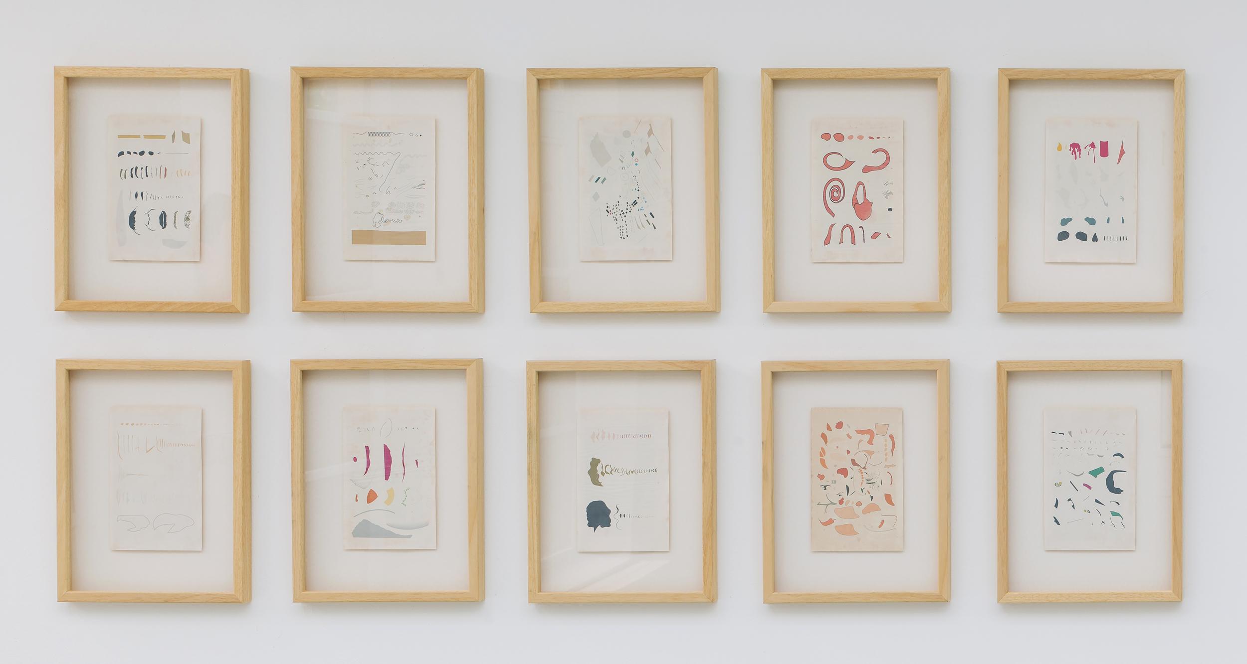 """Mateusz Kula, serie """"Iconographic excavations: Corel DRAW 3.0"""", 2015, 10 tisků na archivním papíře, 23,5 x 15,5 cm"""