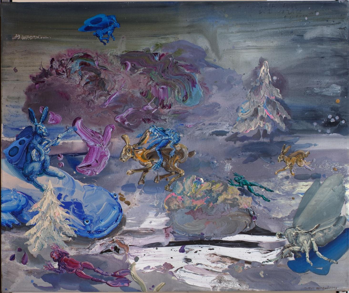Michael Rittstein, Podvečer, 2015, plátno, akryl, 150 x 180 cm