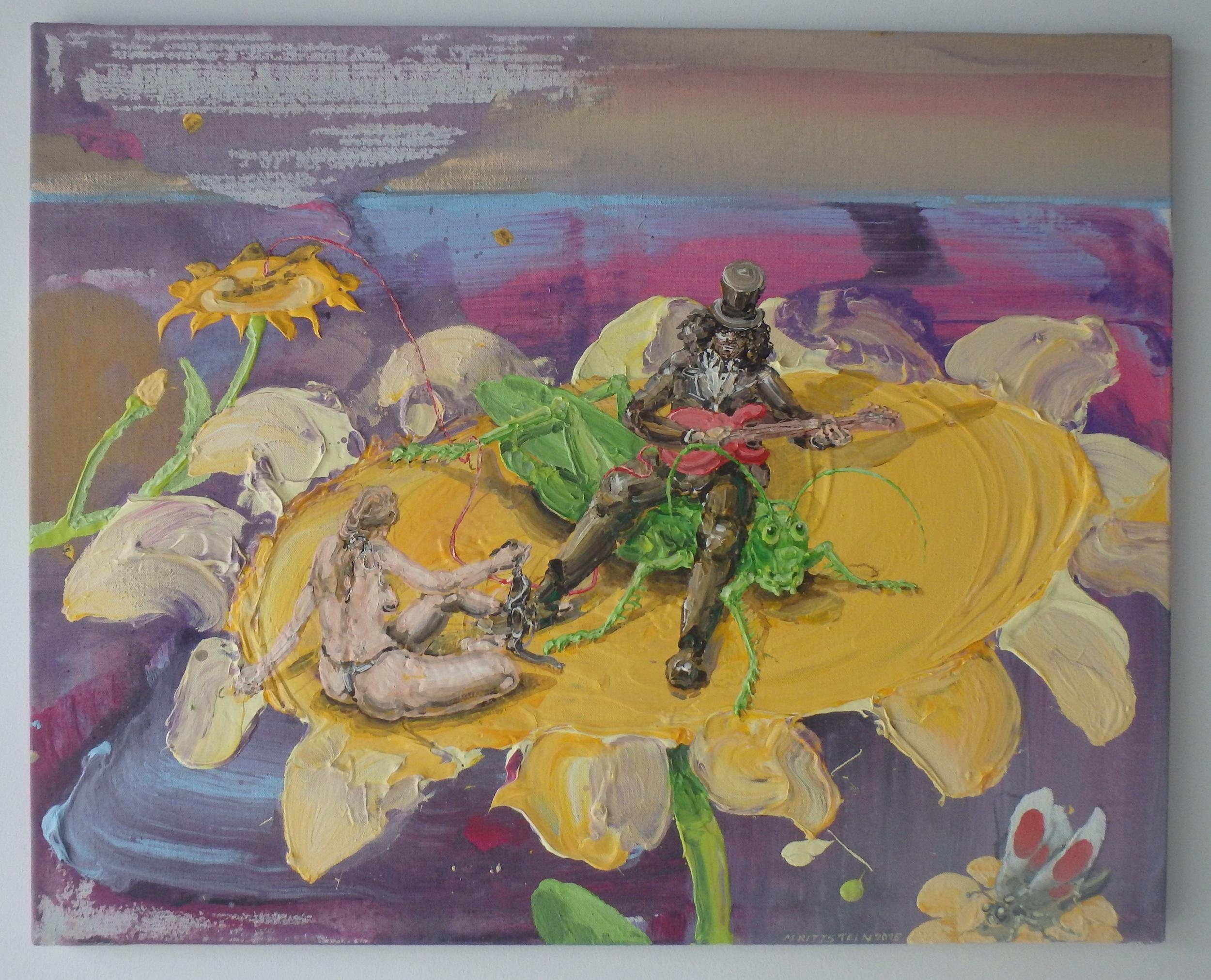 Michael Rittstein, Žluté kytky, 2015, plátno, akryl, 100 x 80 cm