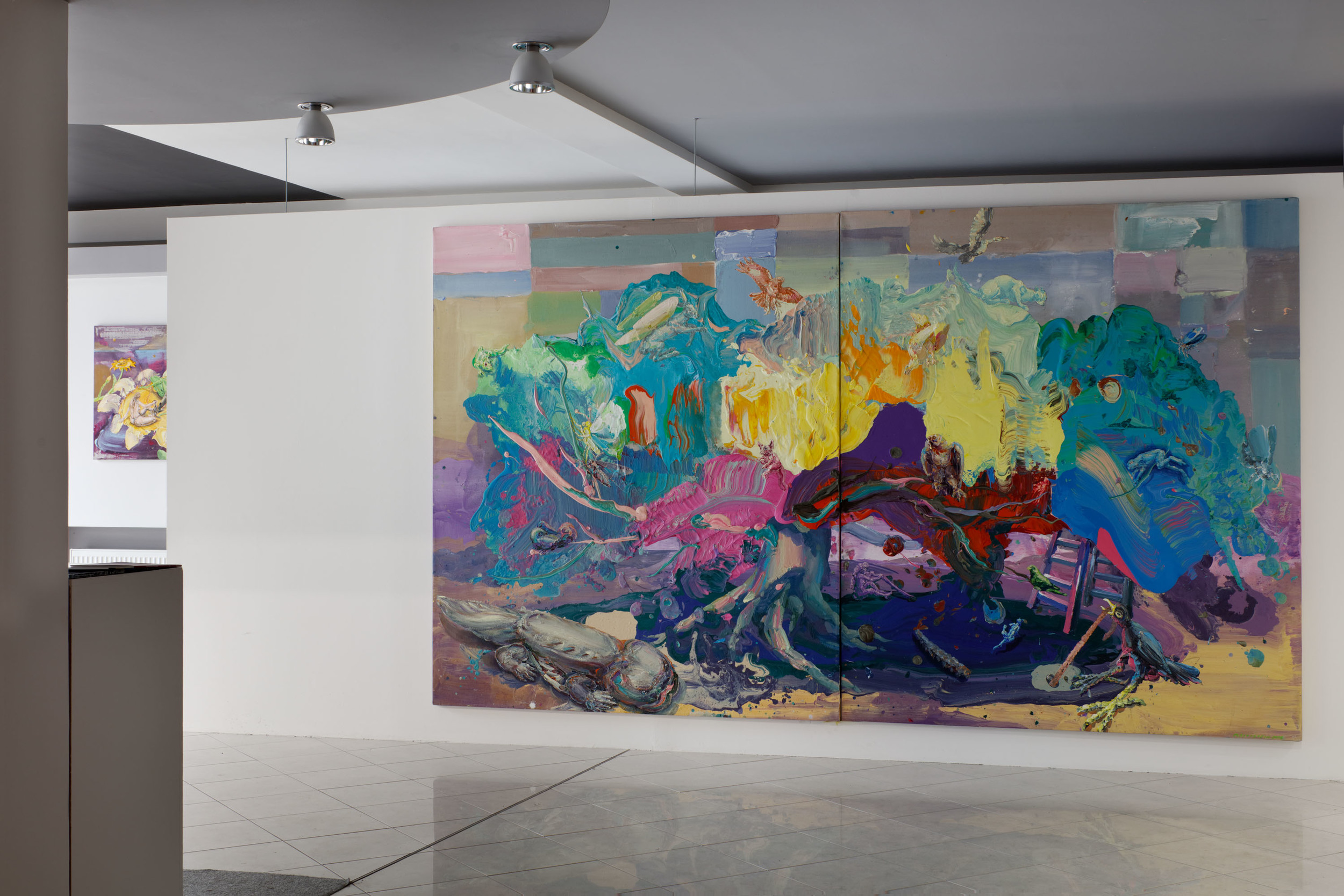 Michael Rittstein, Třešeň I, 2015, plátno, akryl, 190 x 220 cm    Michael Rittstein, Třešeň II, 2015, plátno, akryl, 190 x 220 cm