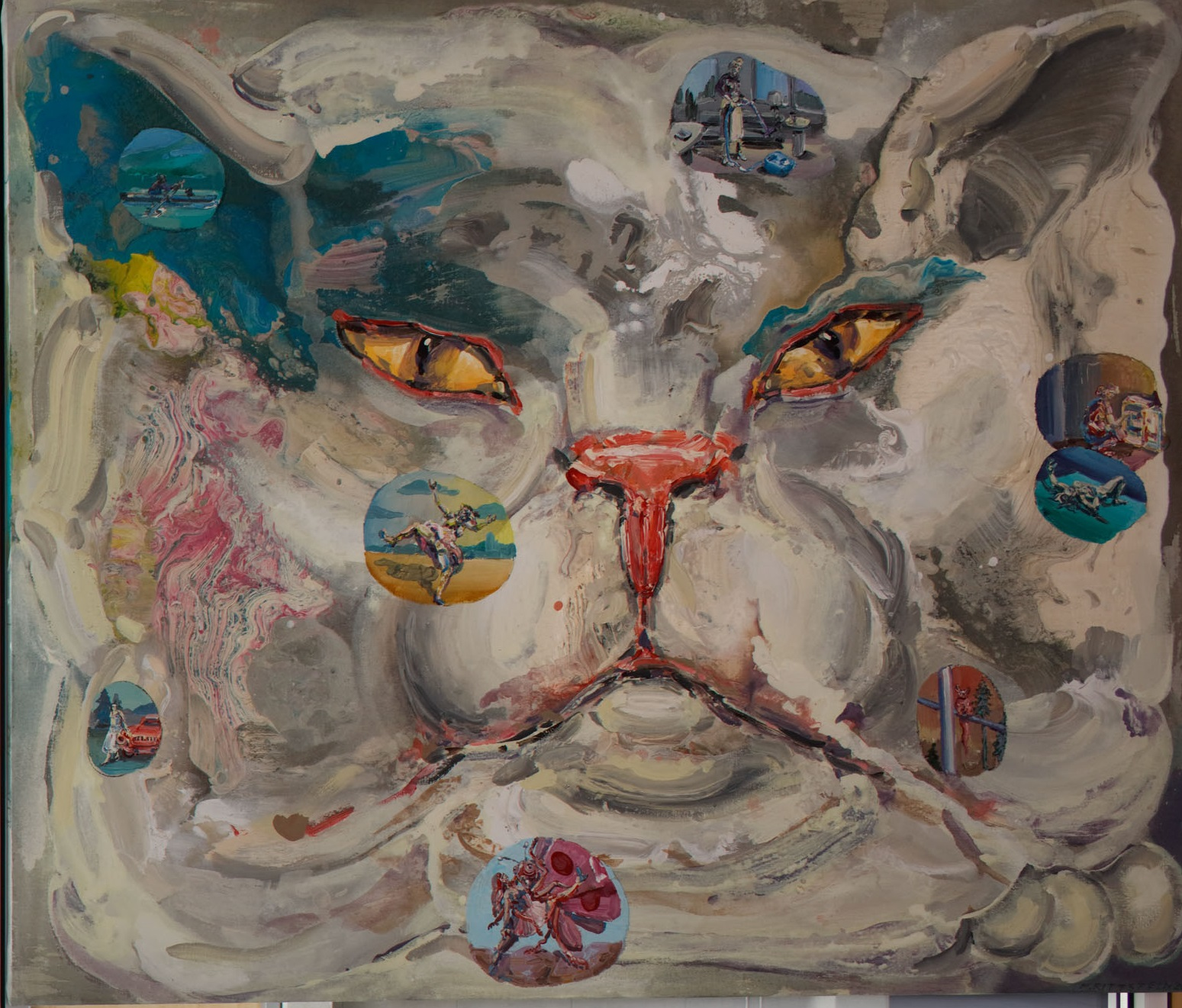 Michael Rittstein, Nestačí se divit, 2016, plátno, akryl, 180 x 150 cm
