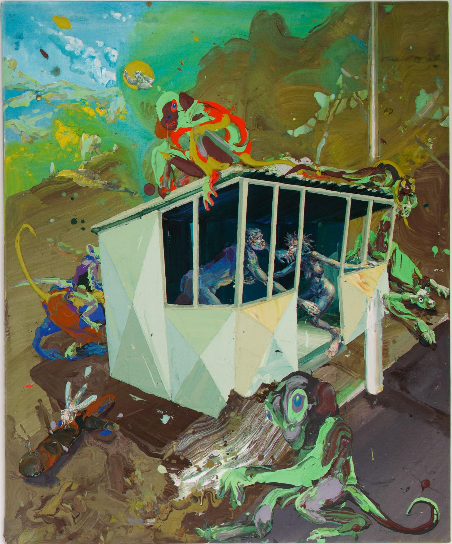 Michael Rittstein, Čekárna na minulost (a Homidi), 2013, plátno, akryl, 180 x 150 cm