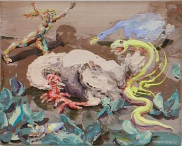 Michael Rittstein, Pozor na hada, 2014, plátno, akryl, 50 x 40 cm