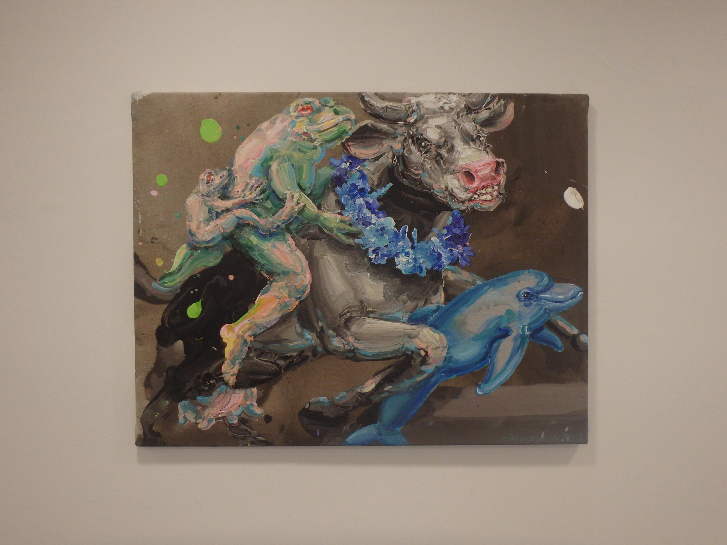 Michael Rittstein, Princ na krávě, 2015, plátno, akryl, 90 x 70 cm
