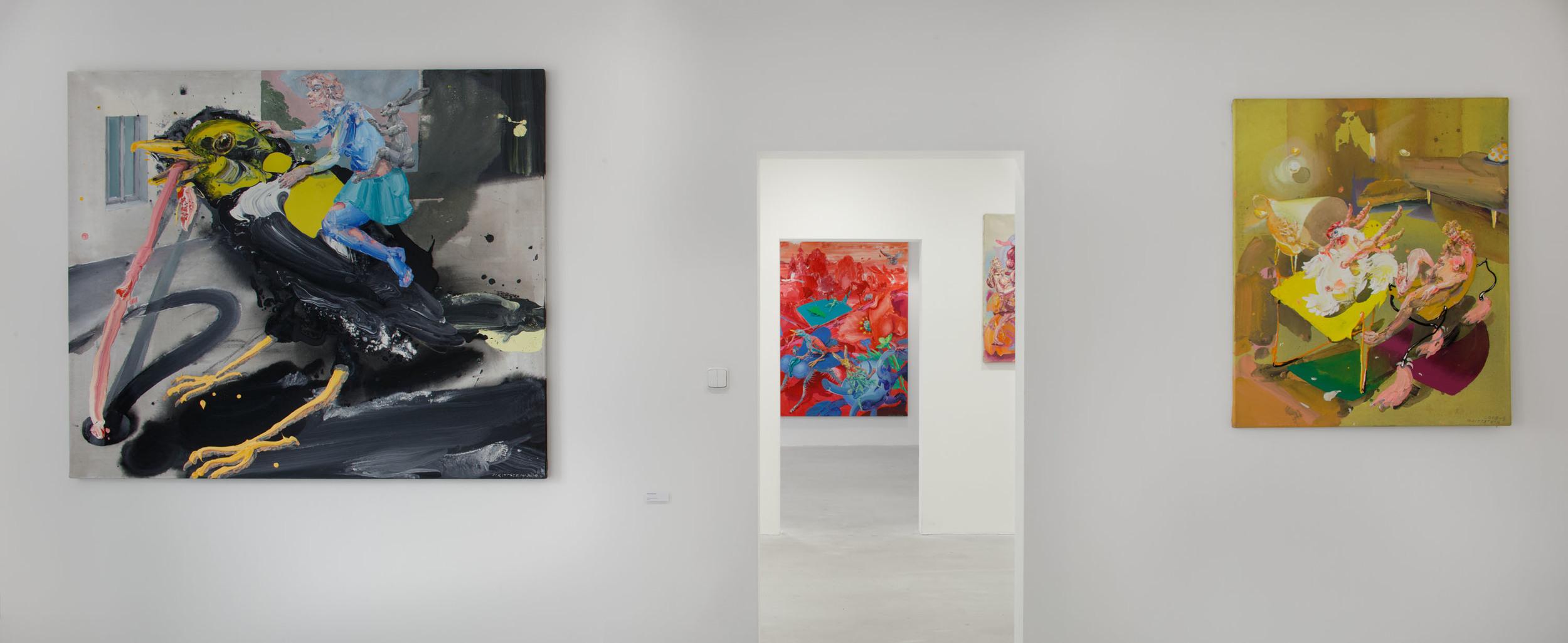 Michael Rittstein, Na žížaly (za školou), 2015, plátno, akryl, 180 x 150 cm      Michael Rittstein, Evoluce trvá, 2008–9, plátno, akryl, 100 x 120 cm
