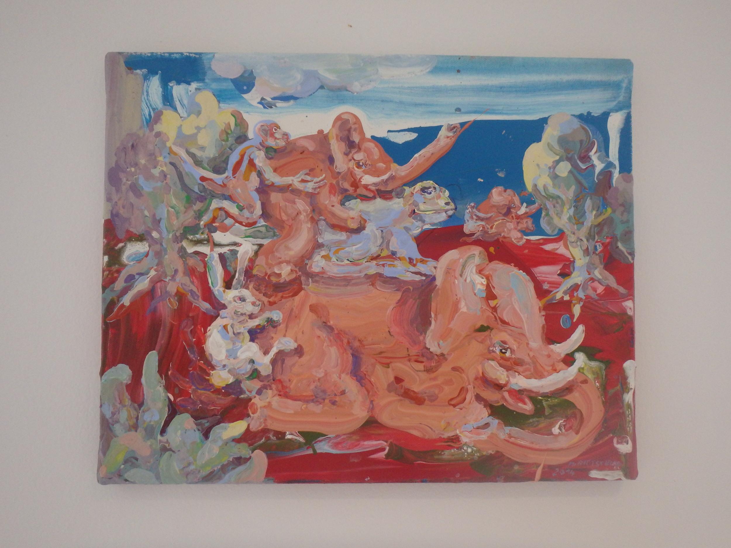 Michael Rittstein, Vášeň je slepá, 2014, plátno, akryl, 50 x 40 cm