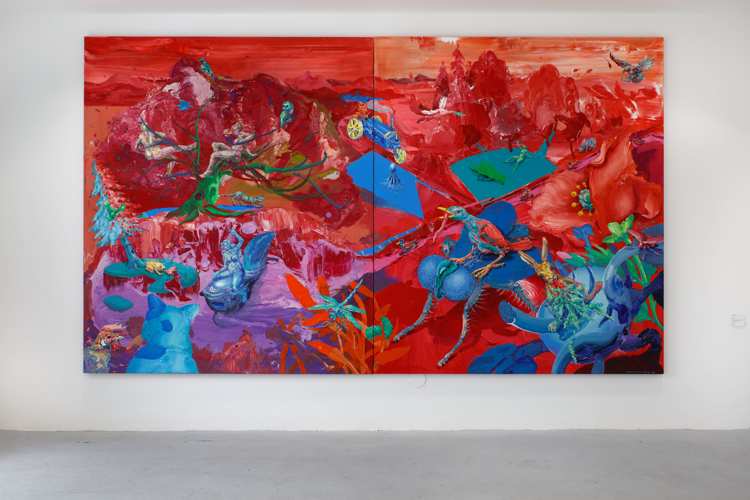 Michael Rittstein, Asimilace I., 2015–16 plátno, akryl, 190 x 220 cm 338 000 Kč    Michael Rittstein, Asimilace II., 2015–16 plátno, akryl, 190 x 220 cm