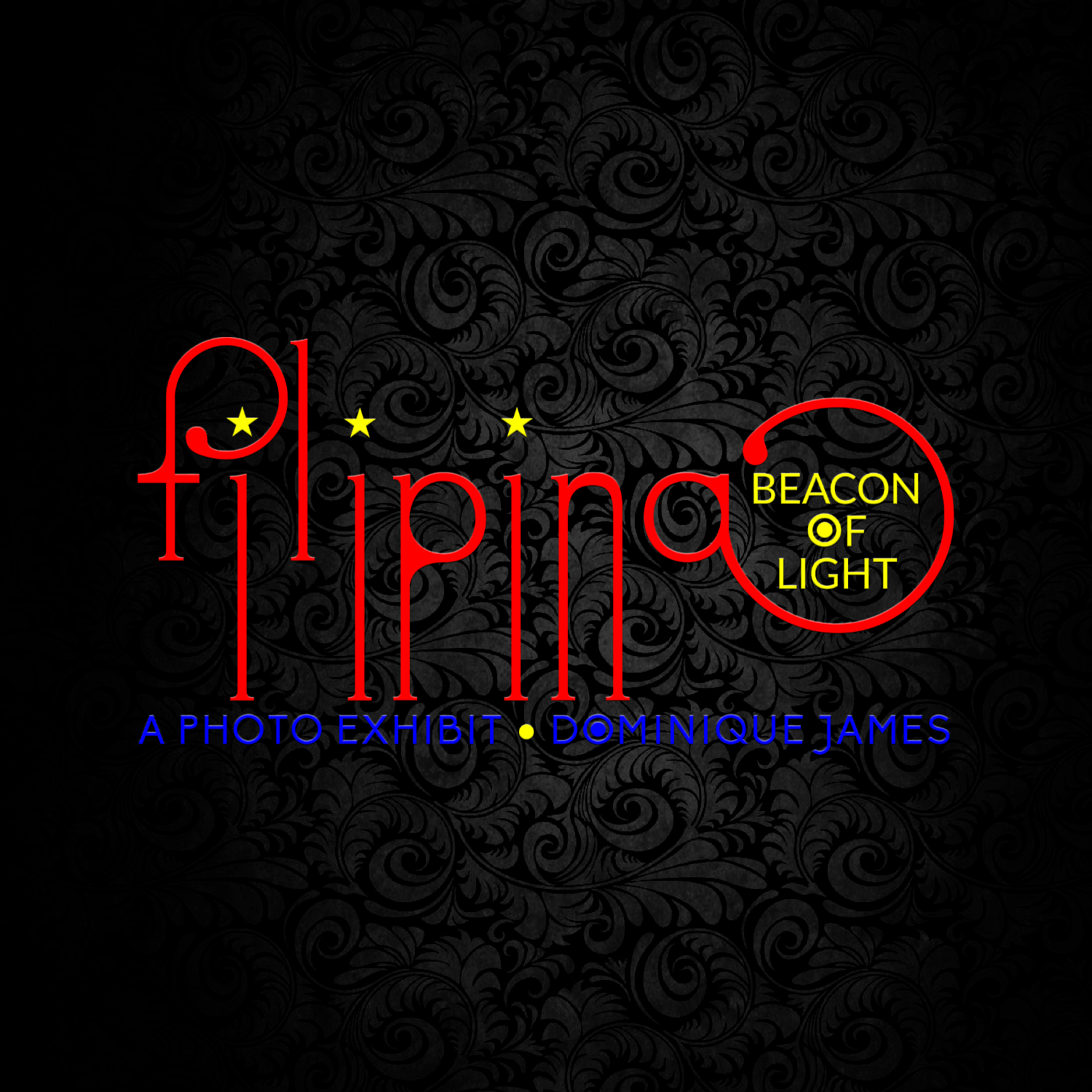 "The distinctive logo design of the  Filipina: Beacon of Light  photography exhibition, inspired and informed by some measure to the Philippine flag and its prominent red, yellow and blue colors, is crafted from the unique lower case Futuracha Pro font conceptualized, designed and created by  The Holy Team  based in Athens, Greece. Each of the three letter ""i"" with the long descending stem is accented by a yellow star instead of the typical period in order to represent the three main Philippine regions, Luzon, Visayas and Mindanao, which in Philippine literature is often depicted as the ideal Filipina woman aptly named  Luzviminda . For more information,  click here to visit the official exhibit website ."