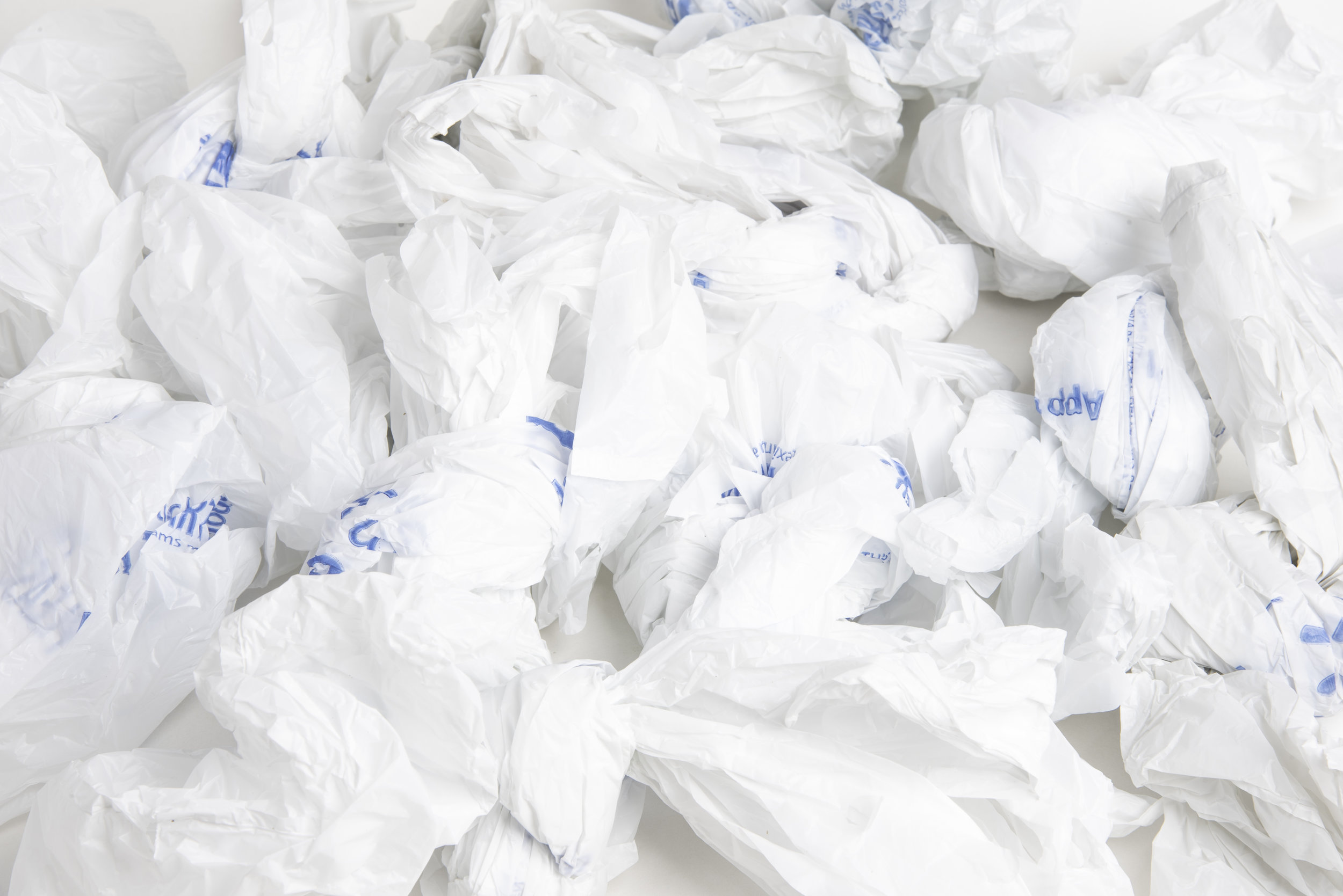 A bunch of discarded single-use plastic grocery bags. Photo:  Dominique James