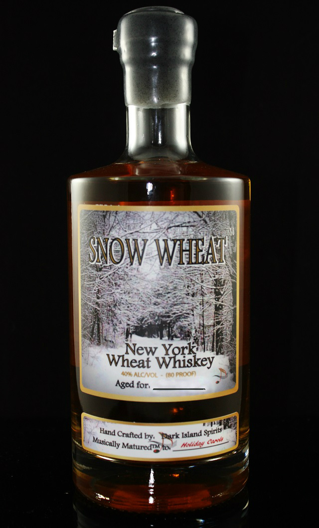 SNOW WHEAT WHISKEY - 40% abv / 80 proofTHIS IS NO ORDINARY WHISKEY. IT BEGINS BY USING A SOFT WINTER WHEAT, DISTILLED IN-HOUSE TO 150 PROOF, THEN REDUCED TO 120 PROOF AND PLACED IN NEW CHARRED AMERICAN OAK 53 GALLON BARRELS, WHERE IT'S MATURED TO CLASSIC HOLIDAY CAROLS WITH OUR PROPRIETARY MUSICAL MATURATION™ DEVICE AND PROTOCOL. AFTER APPROXIMATELY 12 MONTHS, IT'S REMOVED, FILTERED THROUGH NATURAL MAPLE CHARCOAL FROM NORTHERN QUEBEC, THEN FURTHER REDUCED TO 80 PROOF WITH SPRING WATER FROM THE GLACIALLY FORMED WATER SUPPLY AT FRONTENAC CRYSTAL SPRINGS. BOTTLED, LABELED AND READY TO ENJOY NEAT, ON THE ROCKS OR WITH YOUR FAVORITE MIXER.