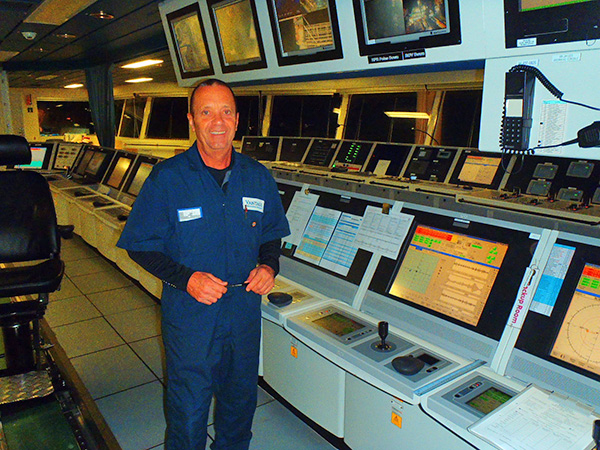 Captain David Hare on the bridge of the Tungsten Explorer drill ship.