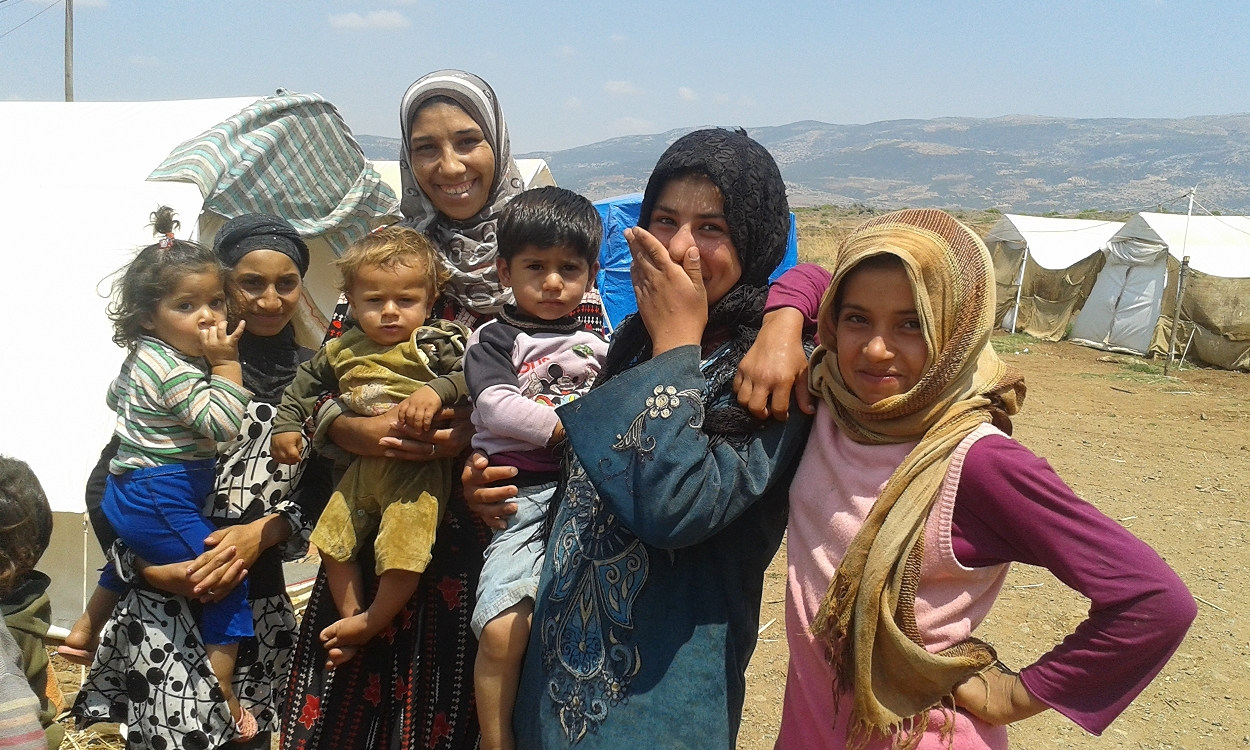 Some of the women and children at the camp.