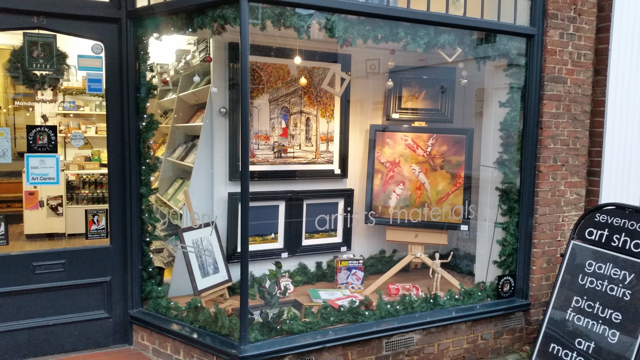 Work by Nigel Cooke and John Russel looking striking in black lacquer frames in our second window this week.