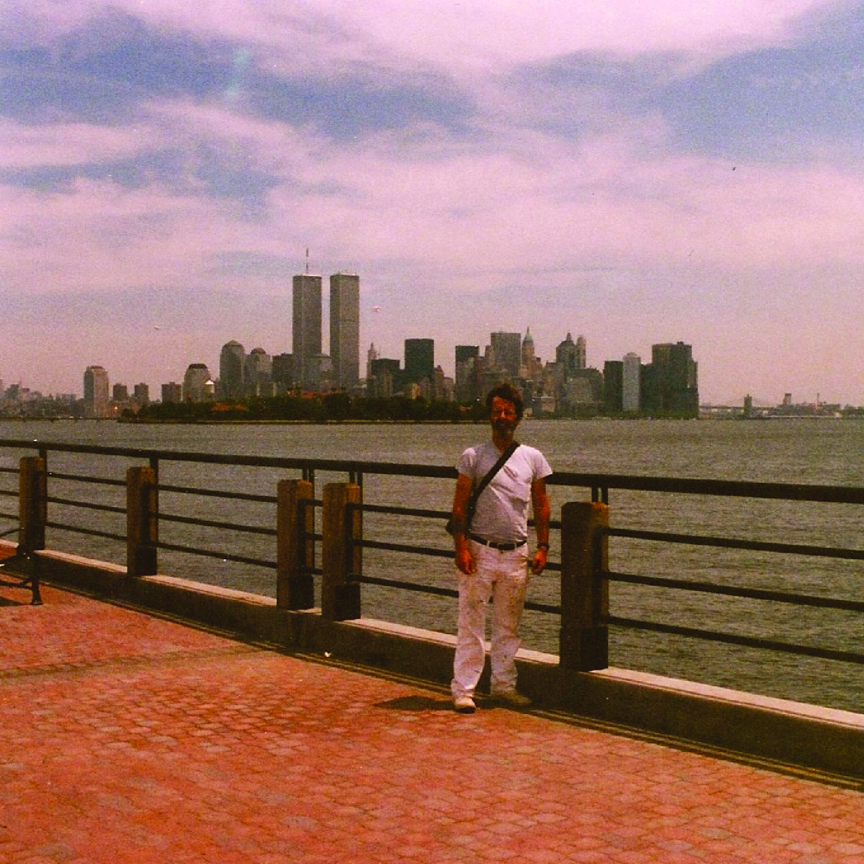 My dad, taking a break from work in jersey city to pose in front of the new york skyline.