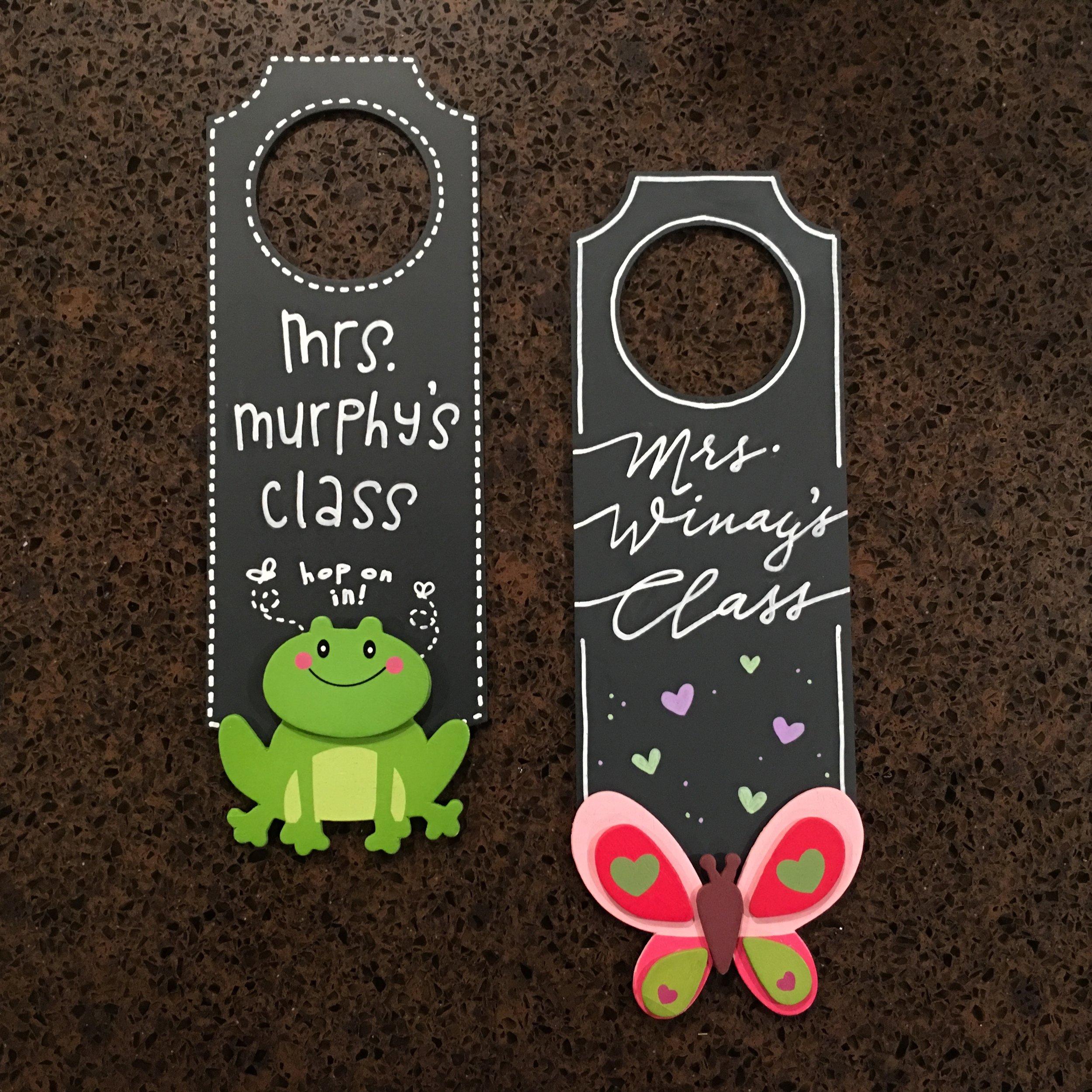 PERSONALIZED DOOR HANGERS IN THE CLASSROOM THEME