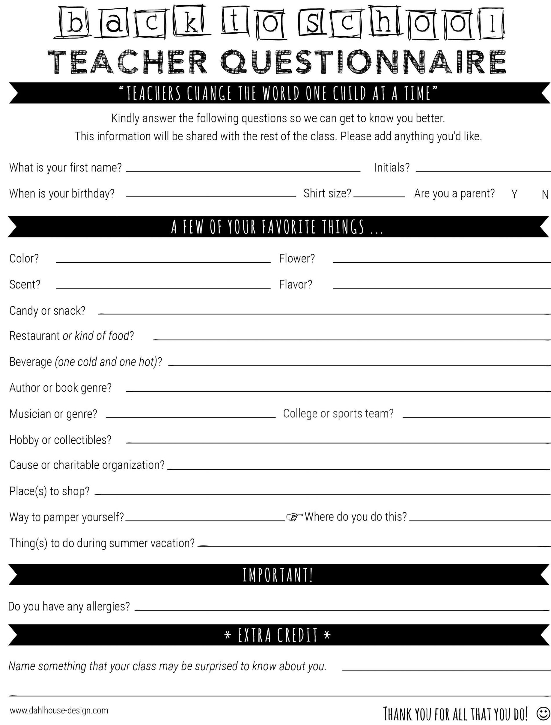 back to school teacher questionnaire