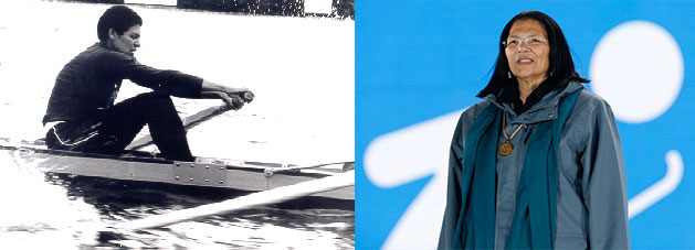 Anita DeFrantz, member of the 1976 Montreal Olympics on the first U.S. Women's 8+ (left) and honored at the 2014 Winter Olympics in Sochi (right).