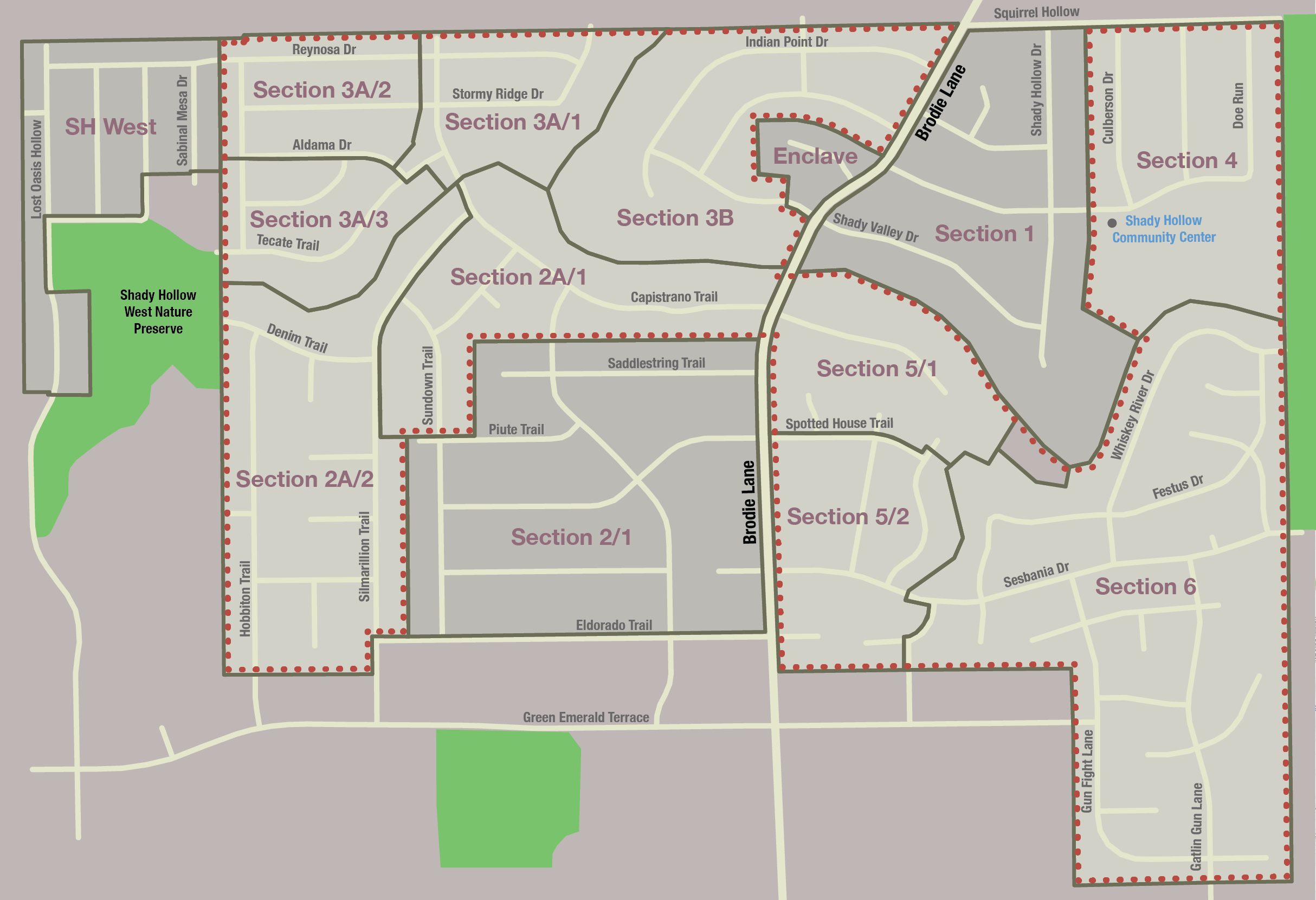 NOTE: The section in dashed  RED  is the expected area to be annexed by the city of Austin. (Unofficial). Based on the City of Austin's web site  here  and the MUD map from the SPA.