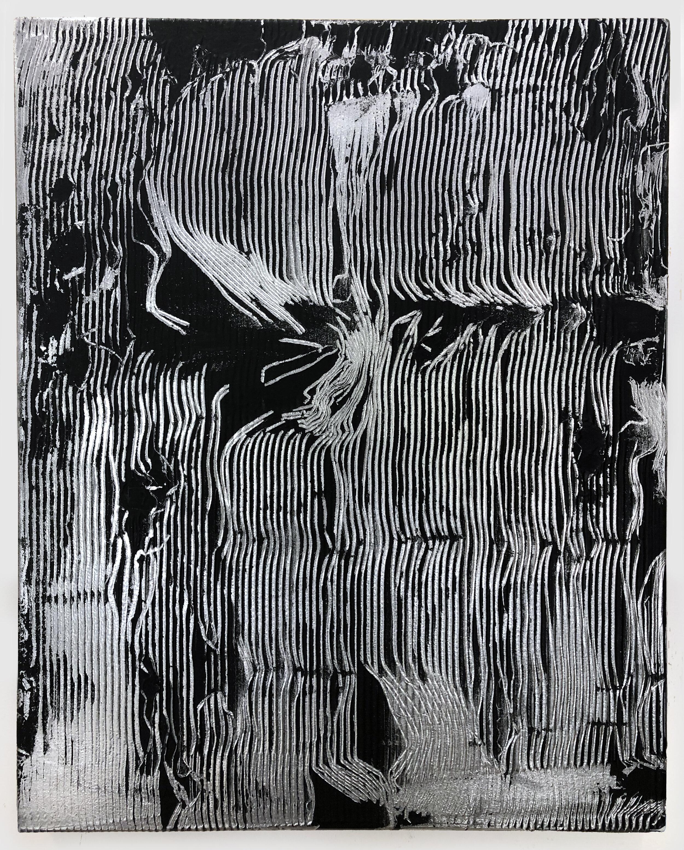 "Untitled , 2019 acrylic and enamel on canvas 30"" x 24"""
