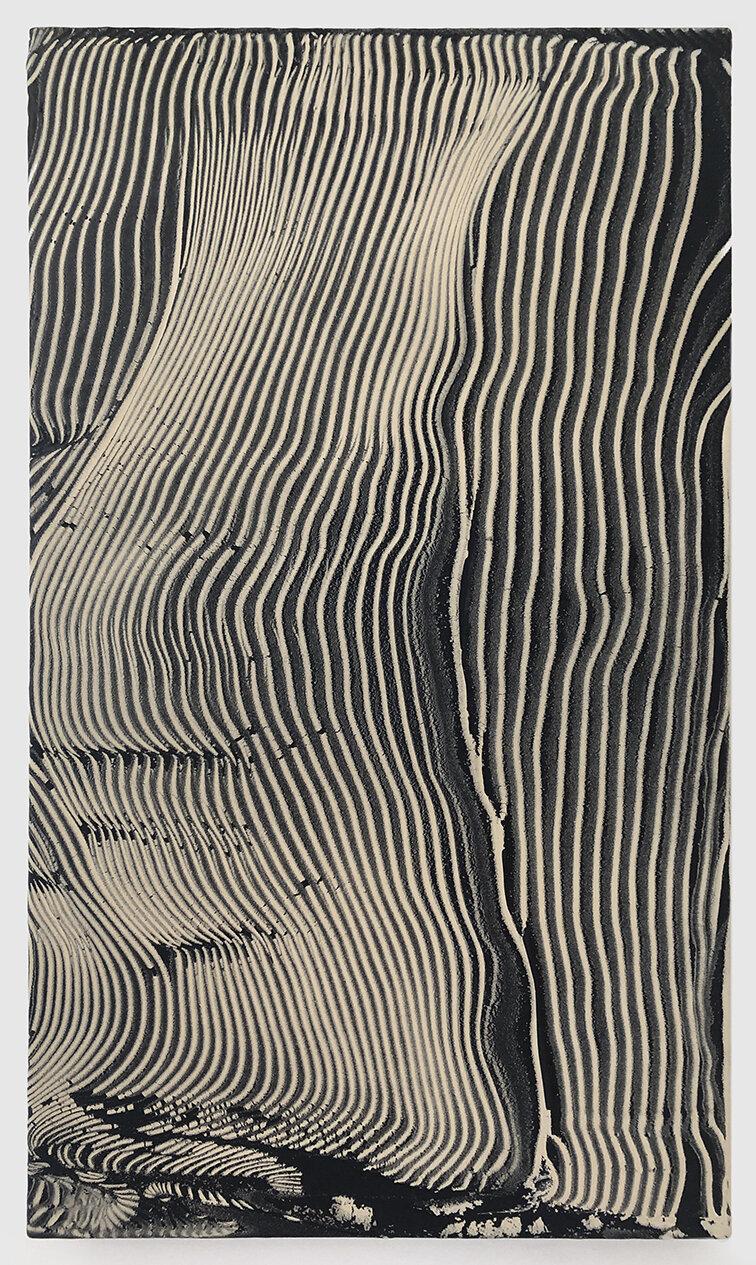 "Observation Deck , 2019 acrylic and enamel on canvas 24"" x 14"""