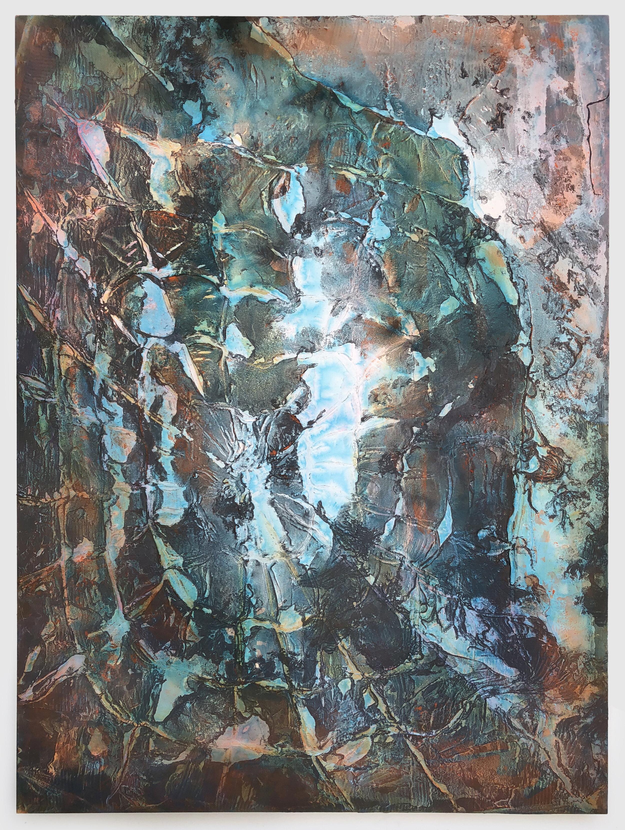 """New Sun (Blue) , 2019  acrylic and enamel on canvas  72"""" x 54"""""""