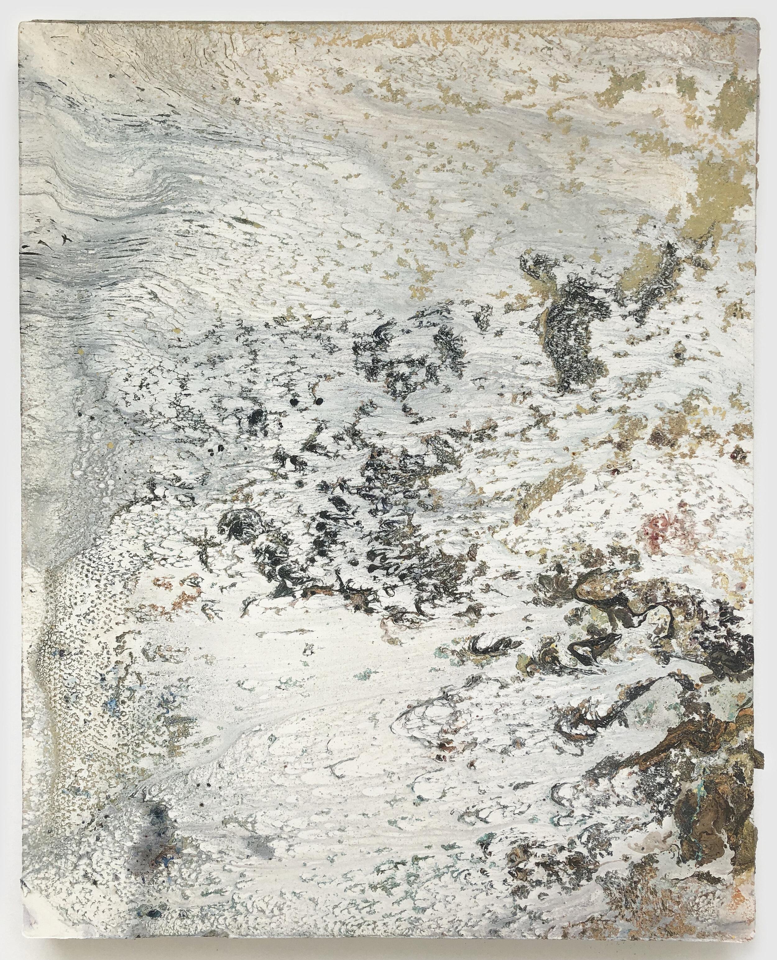"Gyre , 2019 acrylic and enamel on canvas 30"" x 24"""