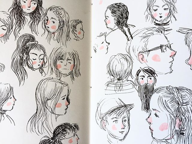 Some loose/casual face sketches from yesterday. I haven't posted too much on here recently as I've been spending quality time with family. But I've still been plugging away at (probably too many) personal projects, which I'll share soon. 🖤🌸 . . . . #art #illustration #sketchbook #sketch #micronpen #illust #faces #practice #drawing #people #kidlitart #kidlit #artistsoninstagram #nature #illustratorsoninstagram #copicmarker #womenillustrators #blackandpink
