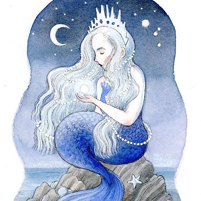 Feeling the need to make more moon-related things. Yet again. Also, happy Friday! 💙🌙 . . . . #art #painting #illustration #mermaid #mermaids #micronpen #illust #watercolor #friday #ocean #sea #moon #nighttime #fantasy #fantasyart #kidlitart #kidlit #artistsoninstagram #nature #illustratorsoninstagram #crop #blue