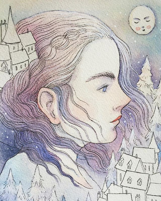 Nothing like a wintry illustration in the middle of May, amiright? . . . . #art #illustration #painting #watercolor #micronpen #illust #wip #practice #drawing #kidlitart #kidlit #artistsoninstagram #nature #purple #illustratorsoninstagram #winter #snow #girl #womenwhoillustrate #winterscene #sideprofile